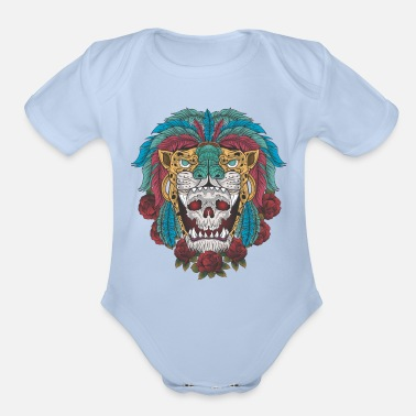 Aztec Warriors Aztec warrior skull, jaguar warrior, jaguar - Organic Short-Sleeved Baby Bodysuit