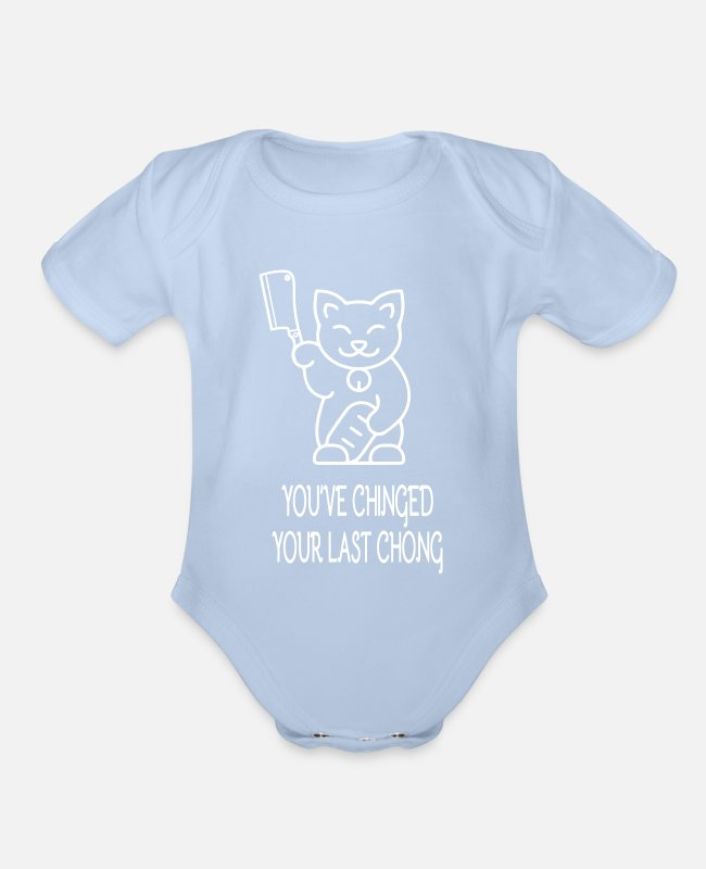 Knife Baby One Pieces - Funny Halloween Cat Gift Murderous Cat With Knife - Organic Short-Sleeved Baby Bodysuit sky