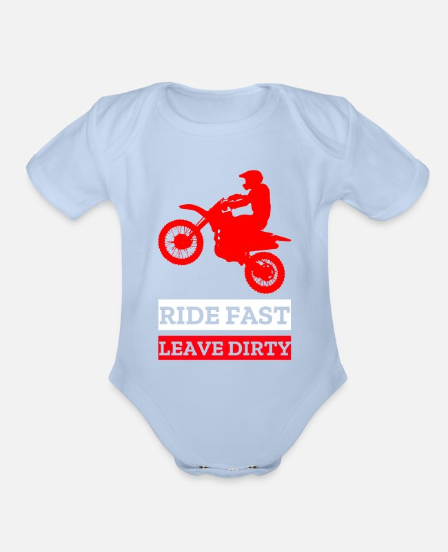Quad Baby One Pieces - Motocross Dirt Bike - Organic Short-Sleeved Baby Bodysuit sky