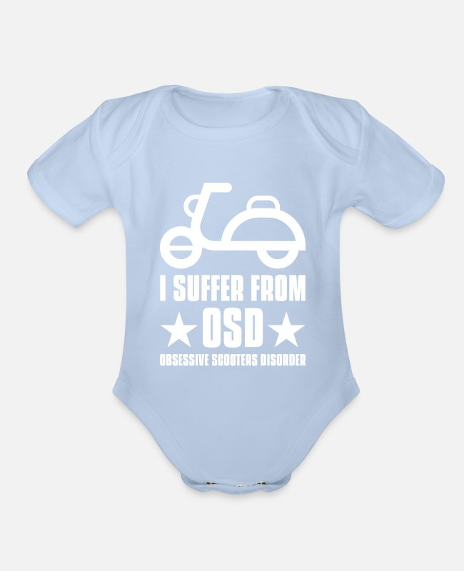 Biker Baby One Pieces - Scooter - Organic Short-Sleeved Baby Bodysuit sky