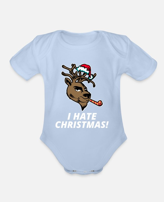 New Years Baby One Pieces - Funny Christmas XMas Winter Season Gift - Organic Short-Sleeved Baby Bodysuit sky