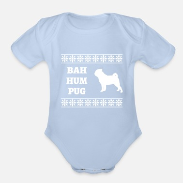 Pug Ugly Christmas Sweater - Organic Short-Sleeved Baby Bodysuit