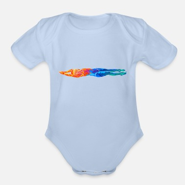 Psychedelic Abstract young woman gurl swimming her back - Organic Short-Sleeved Baby Bodysuit