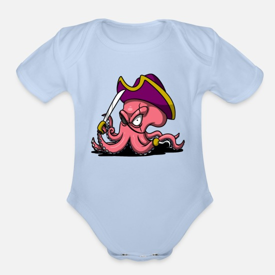 Deep Sea Baby Clothing - Octopus Pirate Ocean Captain Sailor - Organic Short-Sleeved Baby Bodysuit sky