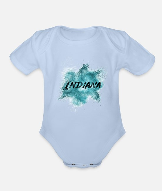 Bloomington Indiana Baby One Pieces - Indiana - Organic Short-Sleeved Baby Bodysuit sky