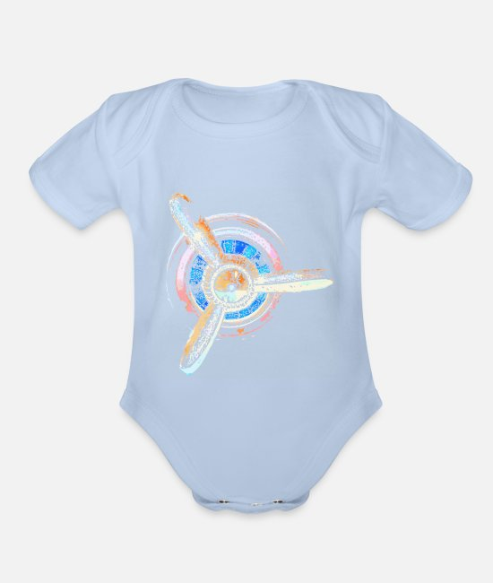 Pilot Baby One Pieces - AirPlane Propeller v1 - Organic Short-Sleeved Baby Bodysuit sky