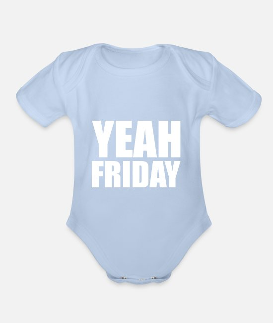 Weekday Baby One Pieces - Friday Weekend School Grad Student Club Party Gift - Organic Short-Sleeved Baby Bodysuit sky