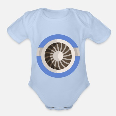 Macho turbine illustration - Organic Short-Sleeved Baby Bodysuit