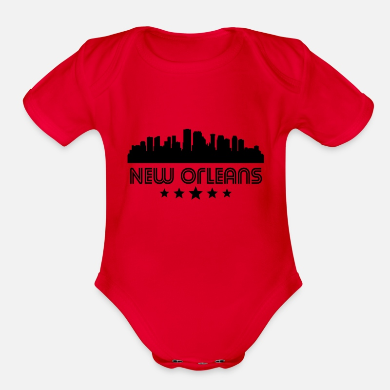 New Orleans Louisiana Skyline Printed Newborn Toddler Baby Short Sleeve Bodysuit Outfits Clothes