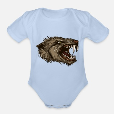 Werewolf werewolf-head-animal-wildlife - Organic Short-Sleeved Baby Bodysuit