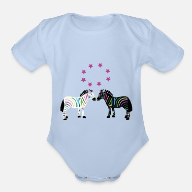 Asterisk Colorful zebras with asterisks - Organic Short Sleeve Baby Bodysuit