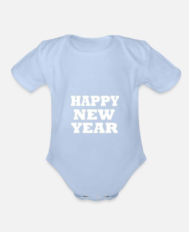 Happy Holidays Baby One Pieces - happy new year - Organic Short-Sleeved Baby Bodysuit sky