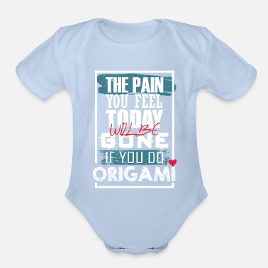 Origami pain will gone origami blue 10 - Organic Short-Sleeved Baby Bodysuit