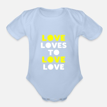 Lovely love loves to love love - Organic Short-Sleeved Baby Bodysuit