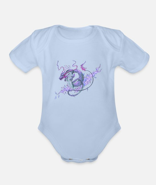 Gay Pride Baby One Pieces - Pastel Tattoo Dragon - Organic Short-Sleeved Baby Bodysuit sky
