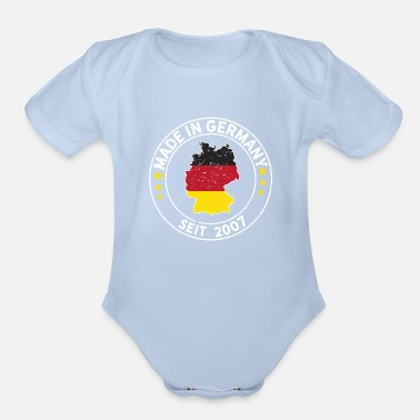 Munich Made In Germany Since 2007 Birthday Gift Idea - Organic Short-Sleeved Baby Bodysuit