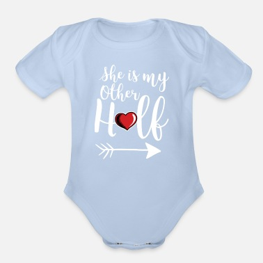 Gay Pride Matching Lesbian Couple She's My Other Half Part2 - Organic Short-Sleeved Baby Bodysuit