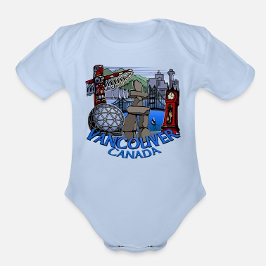 Canadian Vancouver Landmark Souvenirs - Organic Short-Sleeved Baby Bodysuit