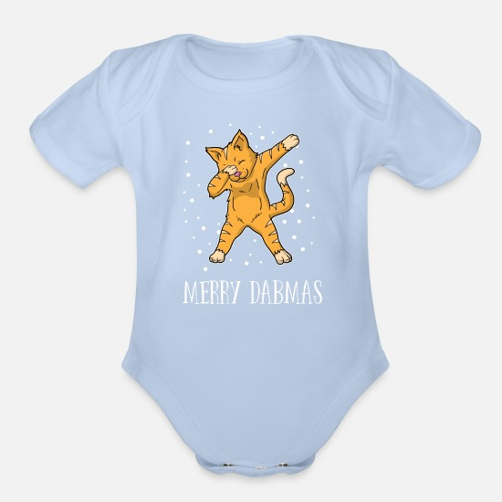 Merry Xmas Baby Clothing - Dabbing Cat Cats Dab Merry Dabmas Christmas Xmas - Organic Short-Sleeved Baby Bodysuit sky