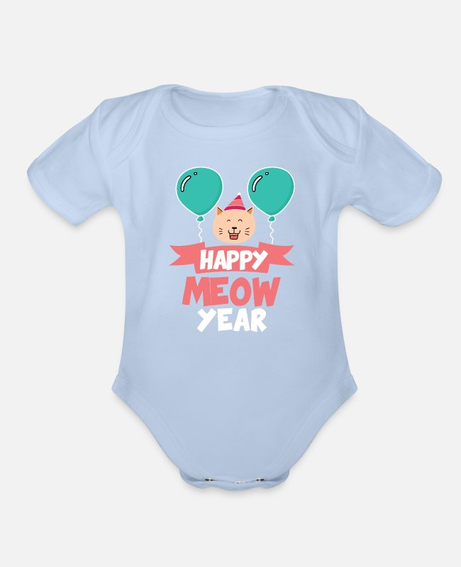 New Baby One Pieces - Happy Meow New Year 2020 Cat Lover Gift - Organic Short-Sleeved Baby Bodysuit sky