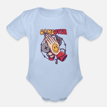 Game Over Smiley Game Over - Organic Short-Sleeved Baby Bodysuit