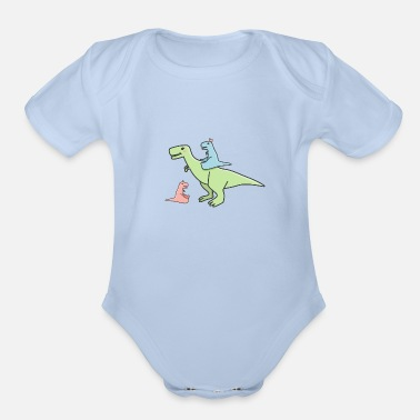 Colcurful Cute pastel dinosaurs - Organic Short-Sleeved Baby Bodysuit