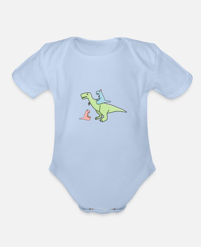 Dinosaurs Baby One Pieces - Cute pastel dinosaurs - Organic Short-Sleeved Baby Bodysuit sky