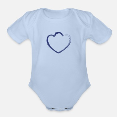 View mutant heart dark blue - Organic Short-Sleeved Baby Bodysuit