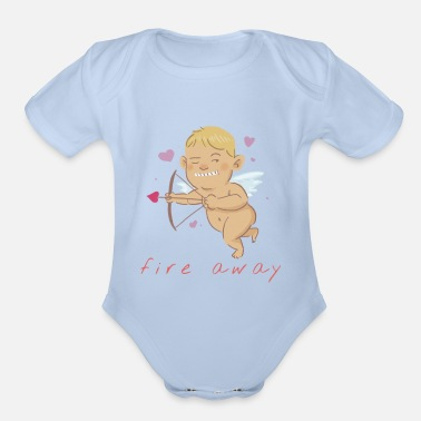 Lovestruck Fire Away | Valentine's Day Cupid - Organic Short-Sleeved Baby Bodysuit