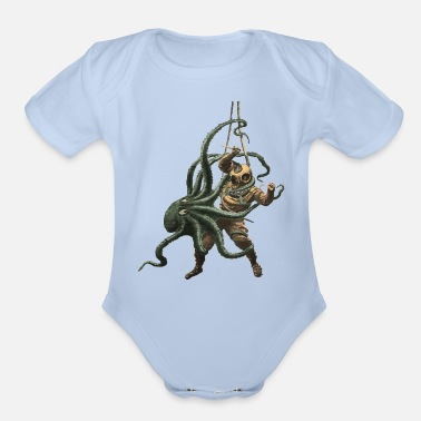 Vintage Diver Vintage Diver with Diving Helmet and an Octopus - Organic Short-Sleeved Baby Bodysuit