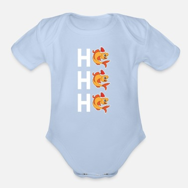 Merry Funny Christmas Xmas Santa Fish Ho Ho Ho Holiday - Organic Short-Sleeved Baby Bodysuit