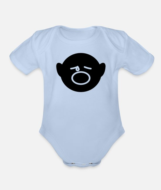 Boss Baby One Pieces - Face - Organic Short-Sleeved Baby Bodysuit sky