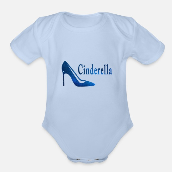 Love Baby Clothing - Cinderella shoe - Organic Short-Sleeved Baby Bodysuit sky