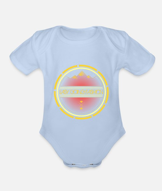 Names Baby One Pieces - Easy Going Fashion great brand - Organic Short-Sleeved Baby Bodysuit sky