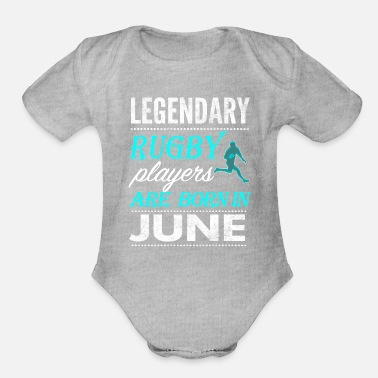 Rugby Rugby Legends are born in June - Organic Short Sleeve Baby Bodysuit