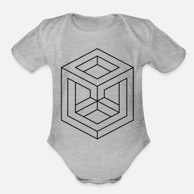 Shape Abstract Illusion Shapes - Organic Short-Sleeved Baby Bodysuit