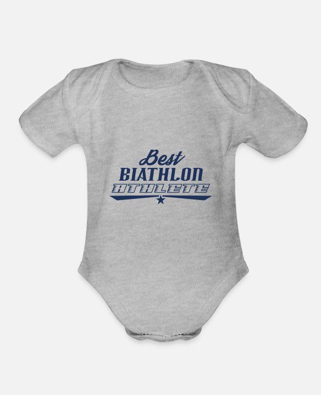 Giant Slalom Baby One Pieces - Biathlon Runner Biathlon Biathlons Sports Athlete - Organic Short-Sleeved Baby Bodysuit heather gray