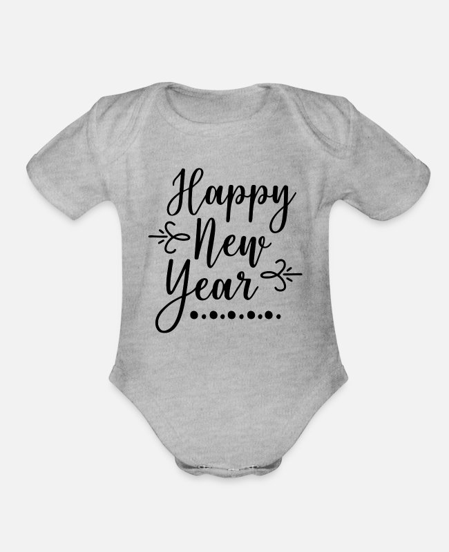New Baby One Pieces - Happy New Year - Organic Short-Sleeved Baby Bodysuit heather gray