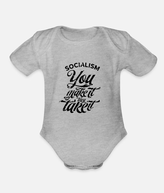 Social Baby One Pieces - Resist Socialism Socialist Opponent Communism Anti - Organic Short-Sleeved Baby Bodysuit heather gray