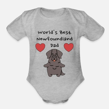 Cute Dog Dad World's Best Newfoundland Dad Cute Dog Father Design - Organic Short-Sleeved Baby Bodysuit