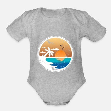 Beach Drawing Sunset Palmtrees Holiday Island - Organic Short-Sleeved Baby Bodysuit