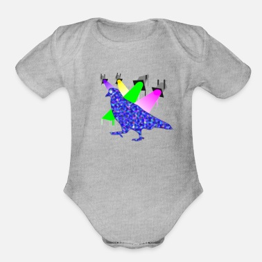 Pppp moon eye pigeon - Organic Short-Sleeved Baby Bodysuit