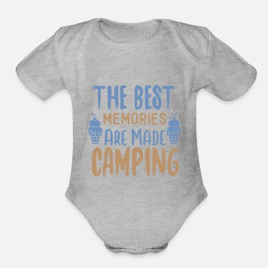 Mountains The Best Memories Are Made Camping - Organic Short-Sleeved Baby Bodysuit