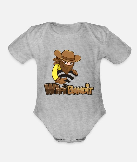 Programmemer Baby One Pieces - WiFi Bandit - Organic Short-Sleeved Baby Bodysuit heather gray