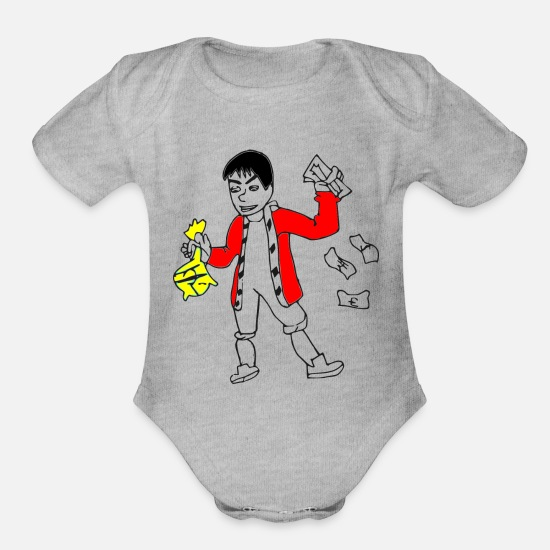 Wealthy Baby Clothing - Wealthy man Rich Man - Organic Short-Sleeved Baby Bodysuit heather gray
