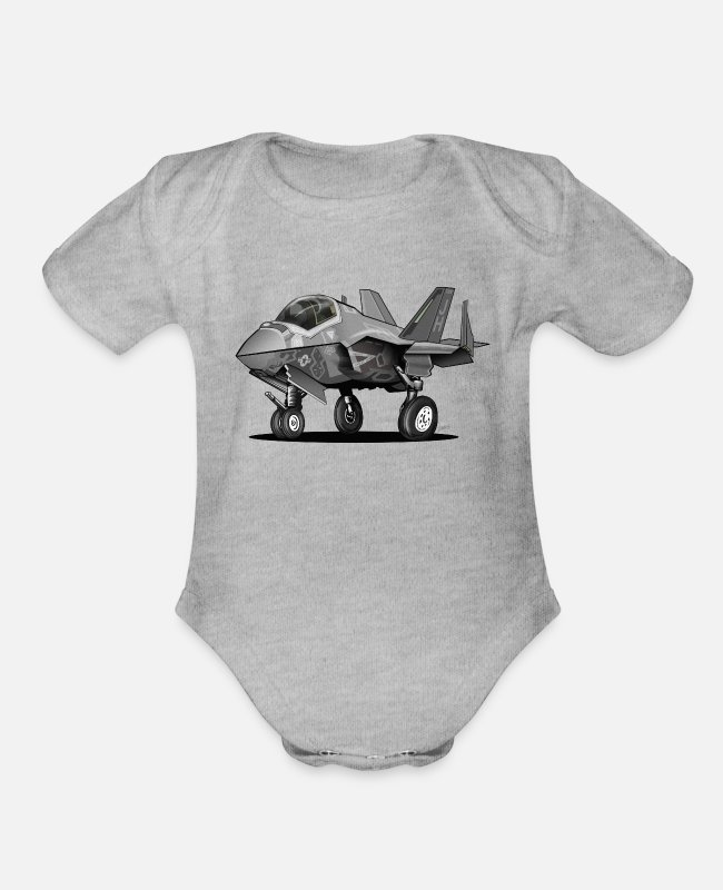Aviation Cartoon Baby One Pieces - F-35C Lightning II Joint Strike Fighter Il Cartoon - Organic Short-Sleeved Baby Bodysuit heather gray