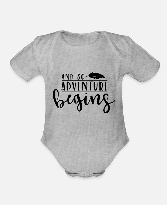 Mountains Baby One Pieces - Adventure - Organic Short-Sleeved Baby Bodysuit heather gray