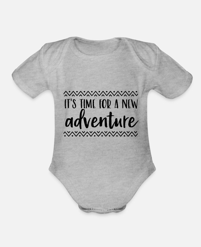 Quote Baby One Pieces - Adventure - Organic Short-Sleeved Baby Bodysuit heather gray