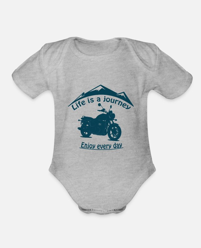 Biker Baby One Pieces - Life is a journey - Organic Short-Sleeved Baby Bodysuit heather gray