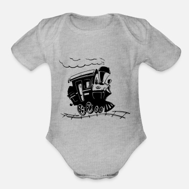 Bnsf train - Organic Short-Sleeved Baby Bodysuit